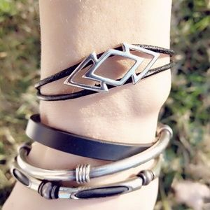 Vintage Modernist Sterling & Leather Bracelet